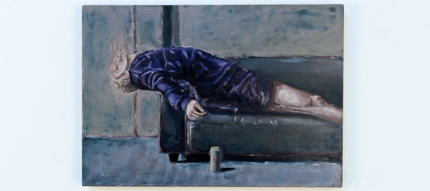 Painting mostly in blue of a person laying on a sofa, with a can next to them.