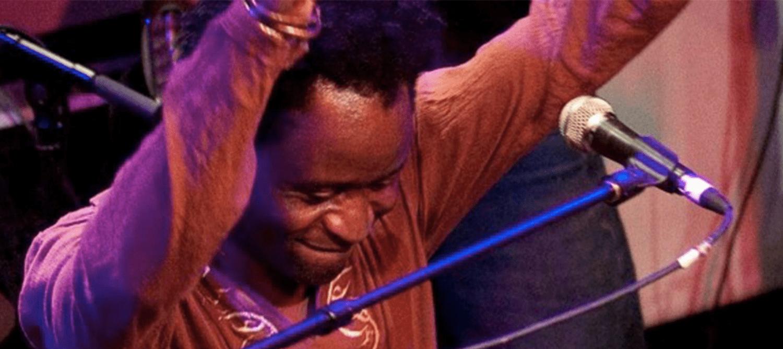Image of Harare frontman, Kuda Matimba, performing.