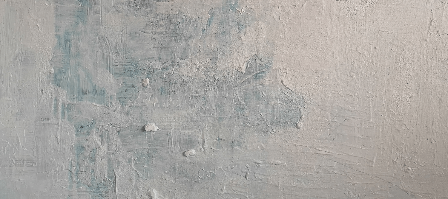 Close up detail of painting. Blue background with white washed foreground
