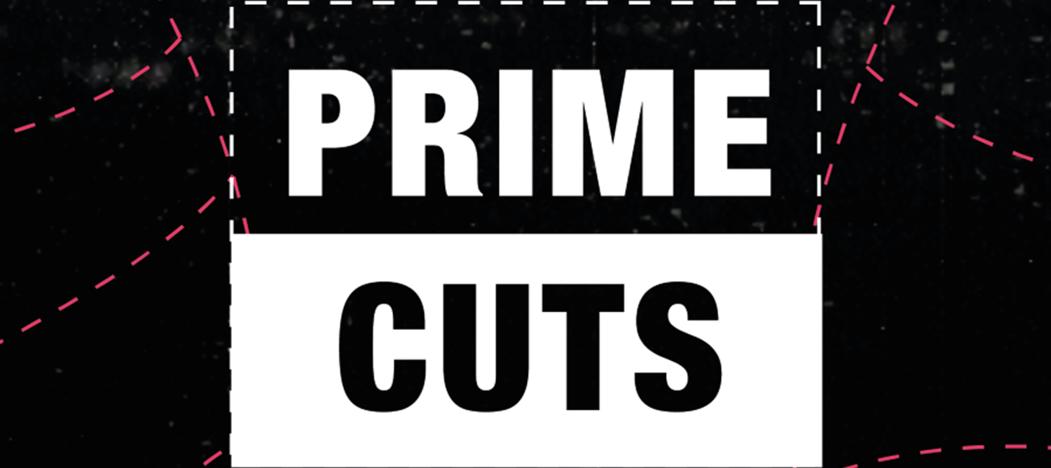 Black and white logo which reads 'PRIME CUTS' surrounded by pink dashed lines.