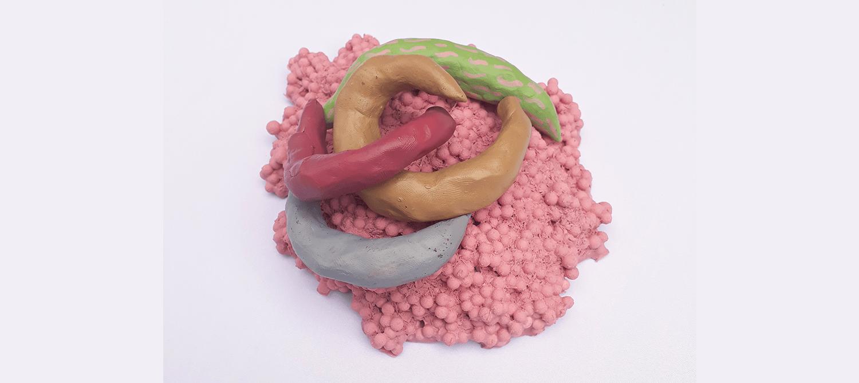 Steve Moberly light clumping, clay sculpture