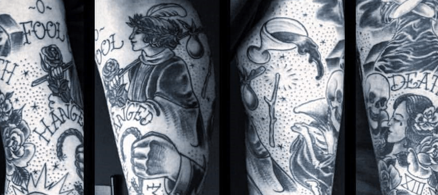 Photograph of an intricate tattoo on an arm from four different angles.