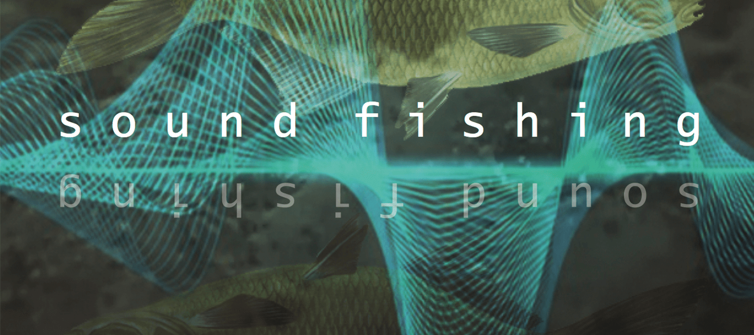 logo design with 'sound fishing' in white text. Green underwater image with a fish