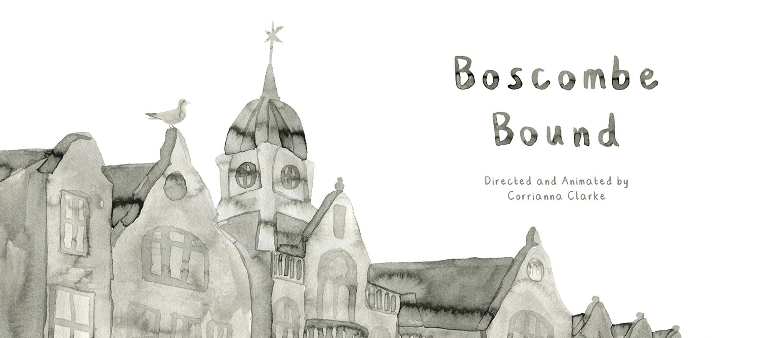 Black and white watercolour painting of buildings, with the text 'Boscombe Bound'