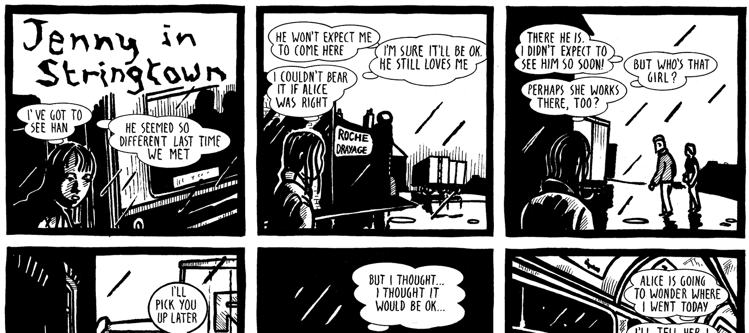 Image shows black and white, ink drawn graphics in six separate squares as a comic strip with figures and their speech bubbles