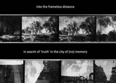Film strip of black and white photos
