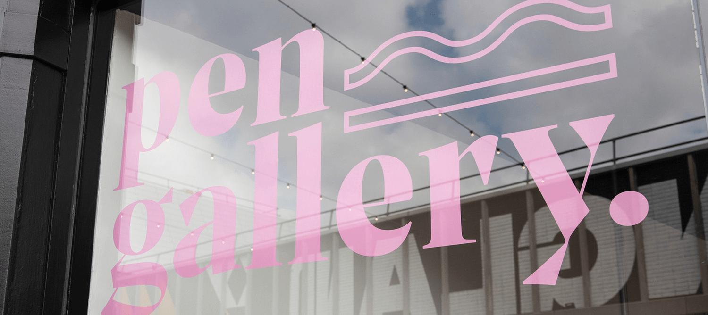 Pen gallery shop front window with vinyl logo