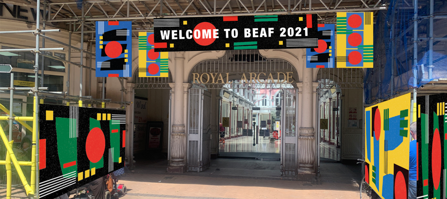 Royal Arcade entrance, with 'Welcome To BEAF' banner.